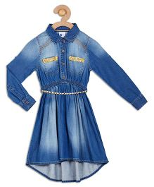 612 League Long Sleeves Denim Dress Sequin Detail - Blue