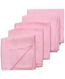 Tinycare Square Cloth Baby Nappy Pink Extra Large - Set Of 5