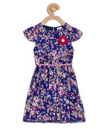 612 League Short Sleeves Floral Dress - Blue