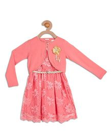 612 League Sleeveless Embroidered Dress With Knit Shrug - Pink