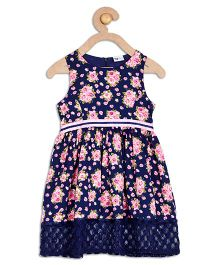 612 League Sleeveless Floral Frock With Lace - Blue