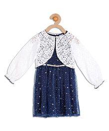 612 League Sleeveless Stars Organza  Dress With Lace Shrug - Blue White