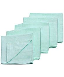 Tinycare Square Cloth Baby Nappy Pale Green Extra Large - Set Of 5