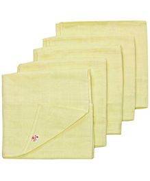 Tinycare Square Cloth Baby Nappy Light Yellow Medium - Set of 5