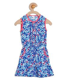 612 League Sleeveless Floral Print Jumpsuit - Blue