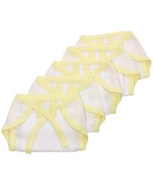 Tinycare Baby Cloth Nappy Comfy Junior Newborn Yellow And White - Set of 5