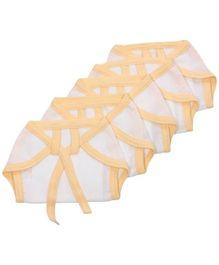 Tinycare Baby Cloth Nappy Comfy Junior Newborn Orange And White - Set of 5