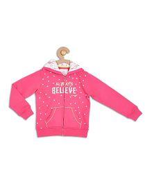 612 League Full Sleeves Hooded Sweat Jacket Star Print - Pink