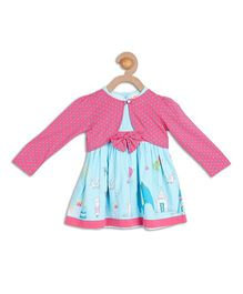 612 League Dotted Shrug With Circus Print Dress - Blue & Pink