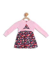 612 League Strawberry Printed Frock With Shrug - Navy & Pink