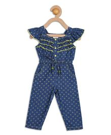612 League Cap Sleeves Denim Printed Jumpsuit - Blue