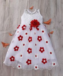 M'Princess Floral Applique Party Dress - White