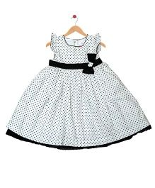 Young Birds Polka Dot Fit & Flare Dress - White & Black