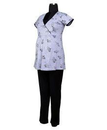 Kriti Comfort Top And Pajama Set - Grey Black