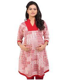 MomToBe V Neck Printed Maternity Kurti - Red