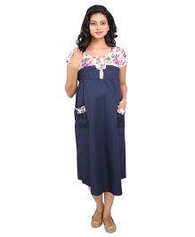 MomToBe Short Sleeves Maternity Dress - Blue White