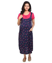 MomToBe Half Sleeves Maternity Dress - Pink And Navy Blue