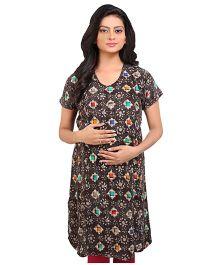 MomToBe Printed Maternity Kurti - Black
