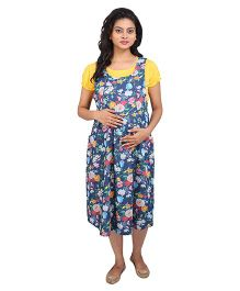 MomToBe Maternity Dress Flower Print - Yellow & Blue