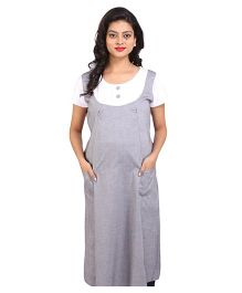MomToBe Half Sleeves Maternity Dress - Grey And White