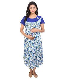 MomToBe Half Sleeves Maternity Dress Floral Print & Bow Applique - Blue