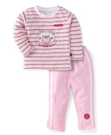 Olio Kids T-Shirt And Pant Set Bear Patch - Pink And White