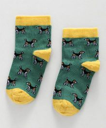 Mustang Ankle Length Puppy Design Socks - Green