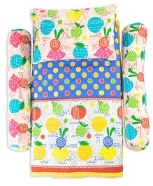 Cocobee Fruit Print Quilt With Bolster And Pillow - Multi Color