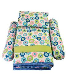 Floral Print Quilt With Bolster And Pillow - Blue