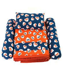 Bow Print Quilt With Bolster And Pillow - Navy And Orange