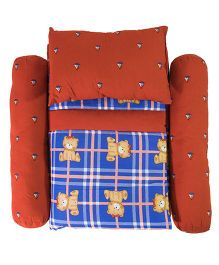 Cocobee Checks Print Quilt With Bolster And Pillow - Brown And Blue