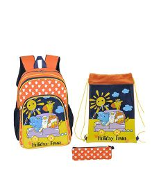 Avon Holiday Fun School Bag Combo Set Of 3 Orange - 14 Inches