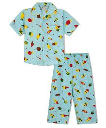 Greenapple Candies And Icecream Cone Print Boys Nightsuits - Blue
