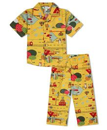 Greenapple A Travel Story Print Boys Nightsuit - Yellow