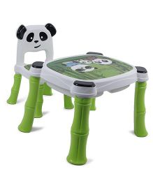 Panda Print Table And Chair Set - White Green
