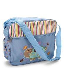 Mother Bag Stripes Print & Tortoise Embroidery - Sky Blue