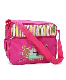 Mother Bag Stripes Print & Tortoise Embroidery - Dark Pink