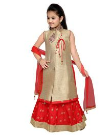 Enfance Zari Work Kurta Ghagra & Dupatta Set - Golden & Red