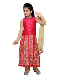 Enfance Fully Embroidered Kurta Pant Dupatta Set - Magenta & Gold
