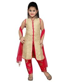 Enfance Indo Western Long Top Pant Set - Cream & Magenta