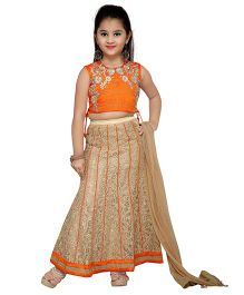 Enfance Embroidered Ghagra Choli Set With Dupatta - Orange & Golden