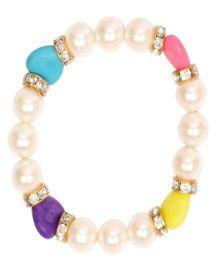 Miss Diva Beads & Coloured Hearts Bracelet - White & Multicolour