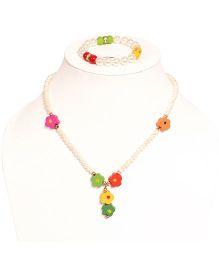Miss Diva Beaded Necklace With Flowers & Bracelet Set - White & Multicolour