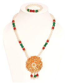 Miss Diva Beaded Necklace With Gotta Flower & Bracelet Set - Red & Green