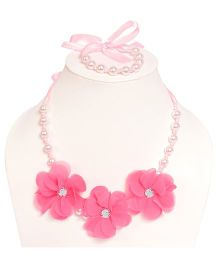 Miss Diva 3 Flower Beaded Necklace & Bracelet Set With Bow - Pink