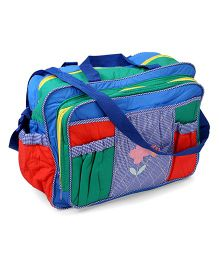Diaper Bag With Flower Embroidery - Multi Color