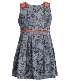 Miyo Floral Cotton Dress - Grey