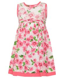 Miyo Floral Nylon Cotton Dress - Pink