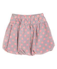 Miyo Polka Dot Polyester Skirt - Pink & Silver