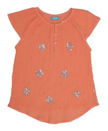 Miyo Cotton Top With Unique Design - Orange